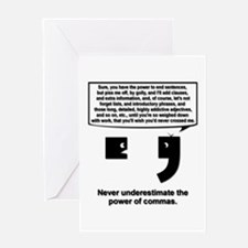 The Power of Commas Greeting Card