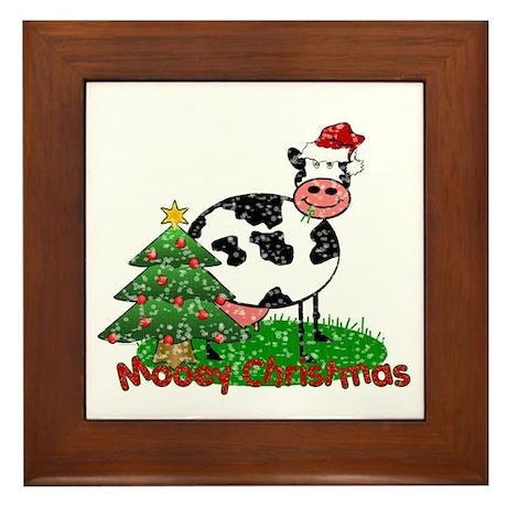 Christmas Cow Framed Tile