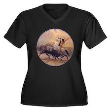 Buffalo Hunt Women's Plus Size V-Neck Dark T-Shirt