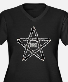 Oboe Star Women's Plus Size V-Neck Dark T-Shirt