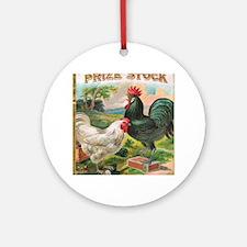 Vintage Chickens Round Ornament