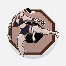 Muay Thai Female Fighter Round Ornament