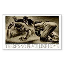 No Place Like Home Baseball Rectangle Sticker