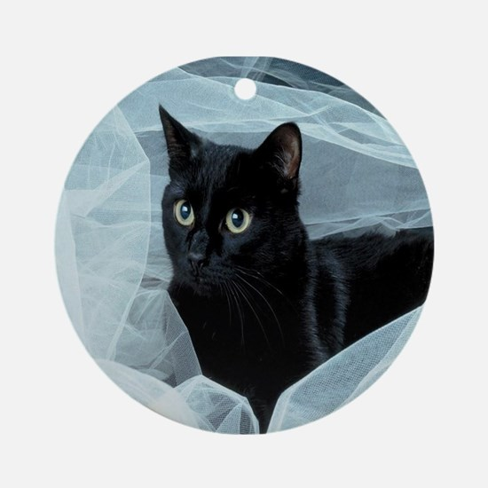 Black Cat Ornament (Round)