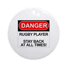 """Danger Rugby Player"" Ornament (Round)"