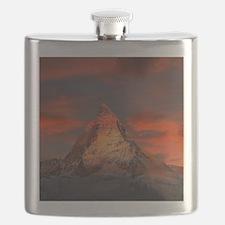 Iconic Alpine Mountain Matterhorn at Sunset Flask