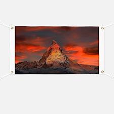 Iconic Alpine Mountain Matterhorn at Sunset Banner