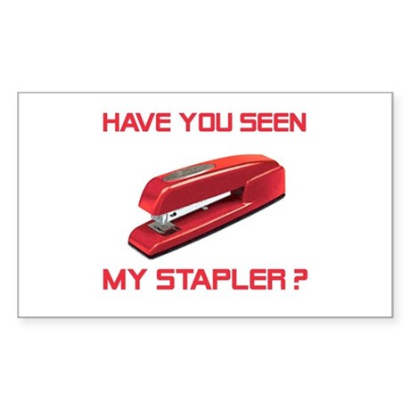 Red Stapler Rectangle Sticker
