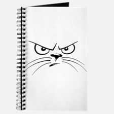 Funny Black and White Angry Cat Face Journal