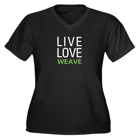 Live Love Weave Women's Plus Size V-Neck Dark T-Sh