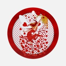 Red Hearts & Fairy Ornament (Round)