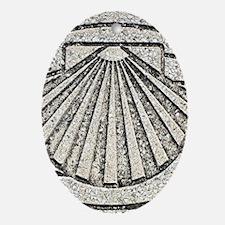 El Camino shell, pavement, Spain Oval Ornament
