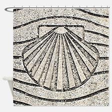 El Camino shell, pavement, Spain Shower Curtain