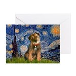 Starry Night / Border Terrier Greeting Cards (Pk o