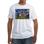 Starry Night / Border Terrier Fitted T-Shirt