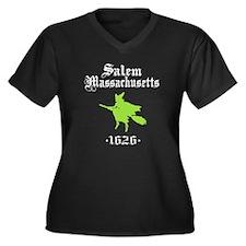 Salem Massachusetts Women's Plus Size V-Neck Dark
