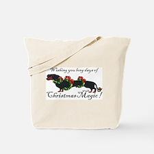Dachshund in Wreaths (black a Tote Bag