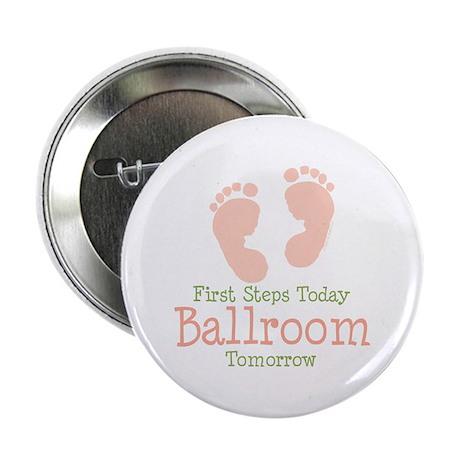 Pink Footprints Ballroom Dancing Button