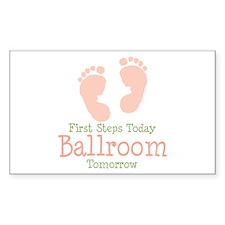 Pink Footprints Ballroom Dancing Sticker (Rectangu
