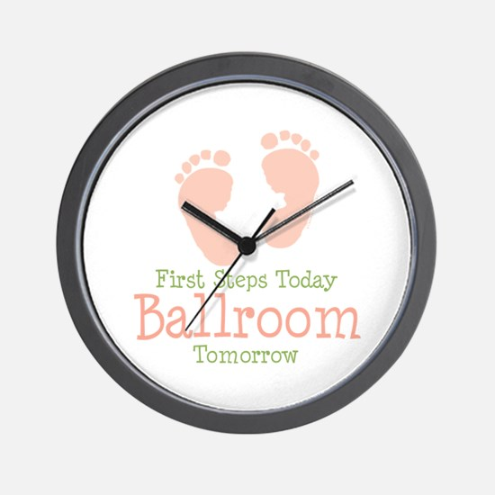 Pink Footprints Ballroom Dancing Wall Clock