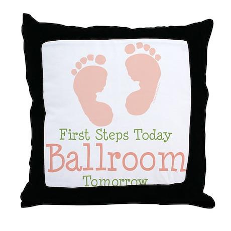 Pink Footprints Ballroom Dancing Throw Pillow