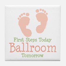 Pink Footprints Ballroom Dancing Tile Coaster