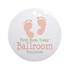 Pink Footprints Ballroom Dancing Ornament (Round)