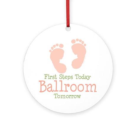Pink Footprints Ballroom Dancing Ornament (Round)