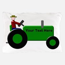 Personalized Green Tractor Pillow Case