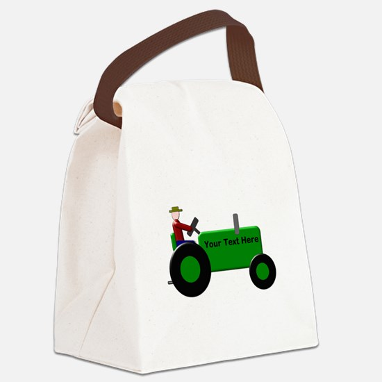 Personalized Green Tractor Canvas Lunch Bag