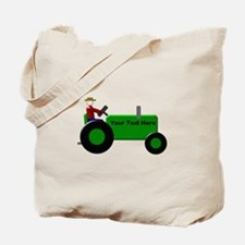 Personalized Green Tractor Tote Bag
