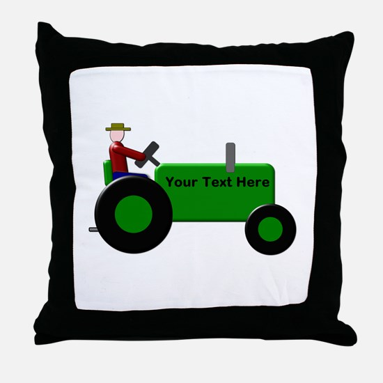 Personalized Green Tractor Throw Pillow