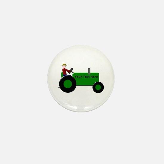 Personalized Green Tractor Mini Button