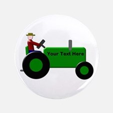 Personalized Green Tractor Button
