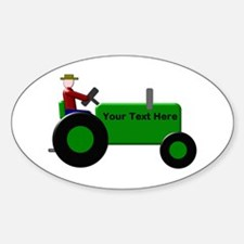 Personalized Green Tractor Sticker (Oval)