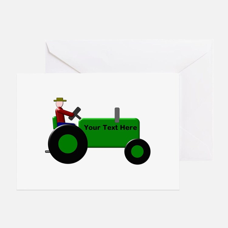 Personalized Green Tractor Greeting Card