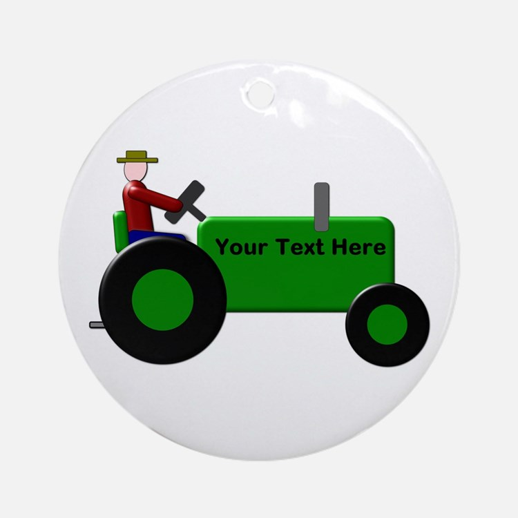 Personalized Green Tractor Round Ornament
