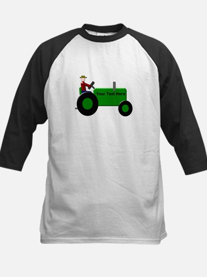 Personalized Green Tractor Kids Baseball Jersey