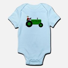 Personalized Green Tractor Infant Bodysuit