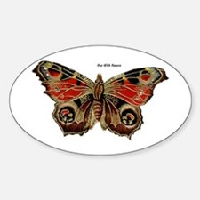 Brown Painted Butterfly Oval Decal