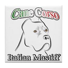 Cane Corso white t Tile Coaster