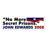No More Secret Prisons - Edwards Sticker