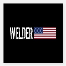 "Careers: Welder (U.S. Fl Square Car Magnet 3"" x 3"""
