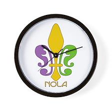 NOLA Mardi Gras Fleur Wall Clock