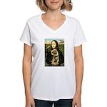 Mona & Border Terri Women's V-Neck T-Shirt