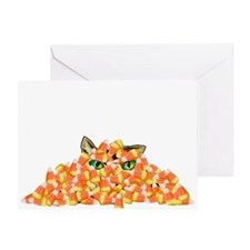 Candy Corn Cat Greeting Card