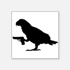 African grey with gun Sticker