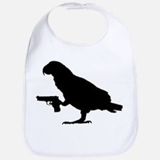 African grey with gun Bib
