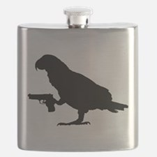 African grey Parrot with gun Flask