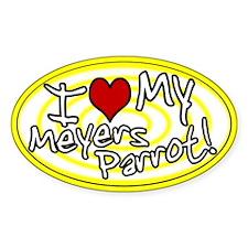 Hypno I Love My Meyers Parrot Oval Sticker Ylw